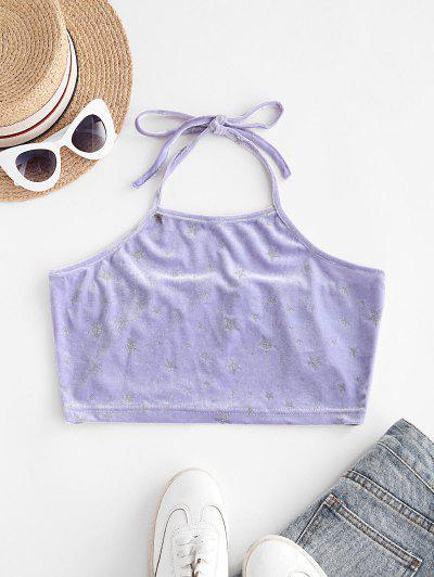 Camiseta Regata Barriga De Fora Com Veludo Brilhante Cortado - Luz Roxa L
