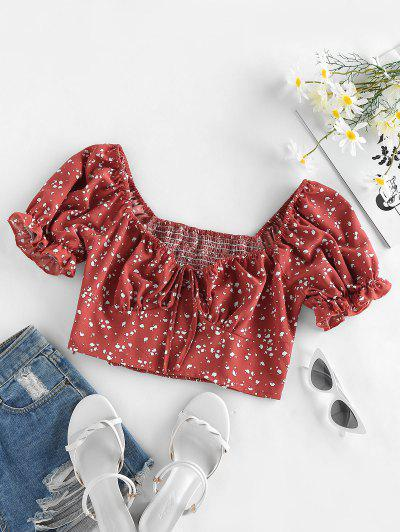 ZAFUL Smocked Puff Sleeve Bowknot Milkmaid Blouse - Chestnut Red M