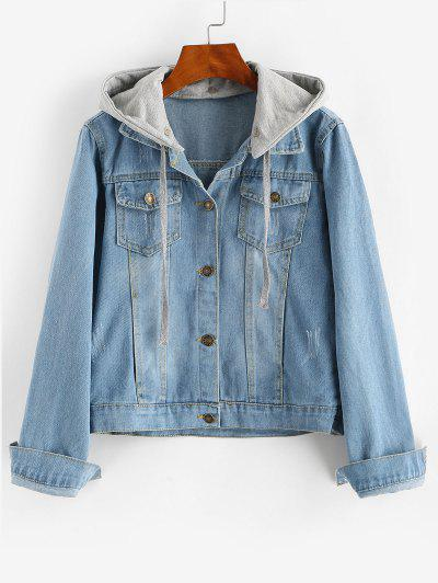Contrast Detachable Hooded Distressed Denim Jacket - Blue L
