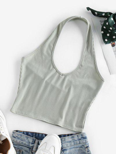 ZAFUL Ribbed Halter Crop Top - Light Green S