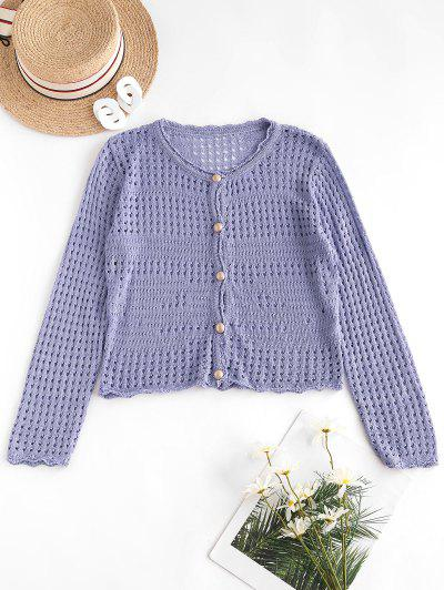Open Knit Pearly Button Up Cardigan - Lovely Purple