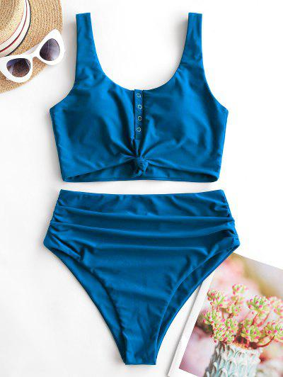 ZAFUL Snap Button Knotted Tummy Control Tankini Swimsuit - Blue M
