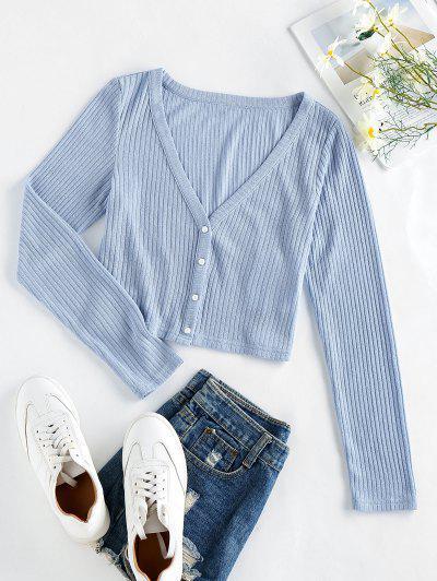 ZAFUL Ribbed Knit Crop Cardigan - Pastel Blue L