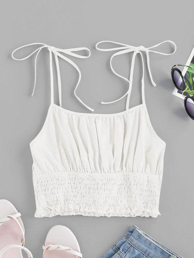 ZAFUL Tie Strap Ruched Smocked Cami Top - White Xl
