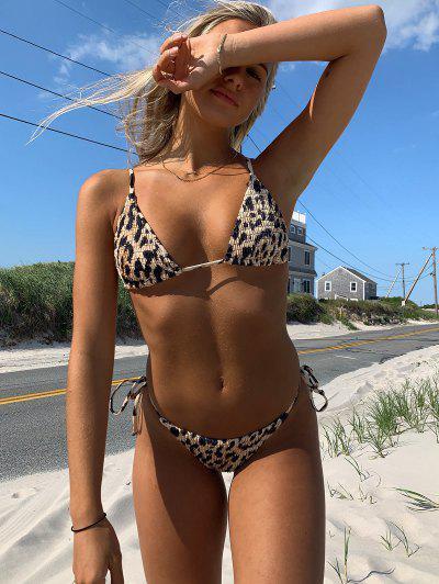 Emma MacDonald X ZAFUL Animal Print Smocked String Bikini Swimwear - Leopard L