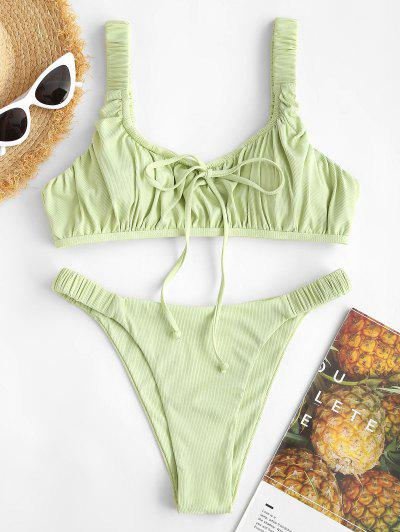 ZAFUL Ribbed Drawstring Ladder Cut High Leg Bikini Swimwear - Light Green S