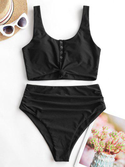 ZAFUL Snap Button Knotted Tummy Control Tankini Swimsuit - Black L