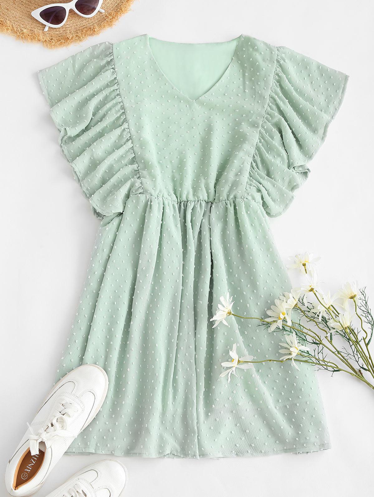 Ruffled Sleeve Swiss Dot Mini Dress