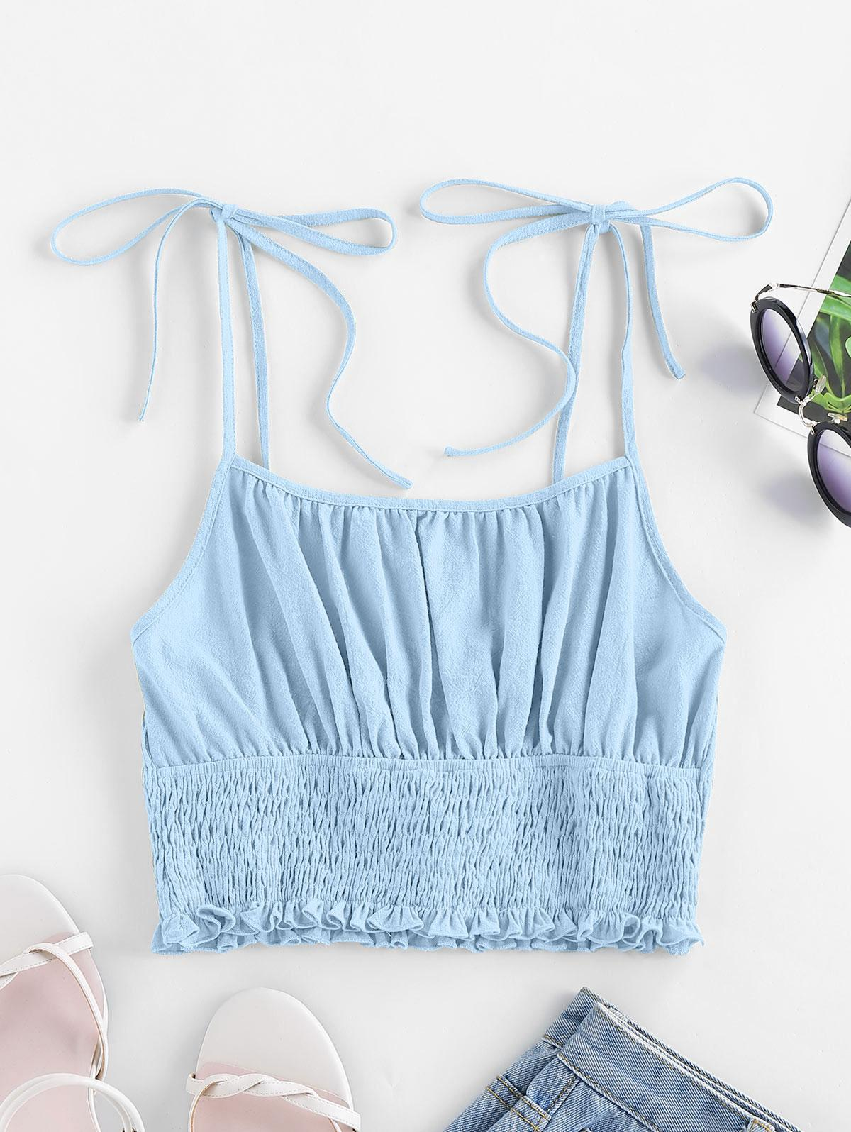 ZAFUL Tie Strap Ruched Smocked Cami Top