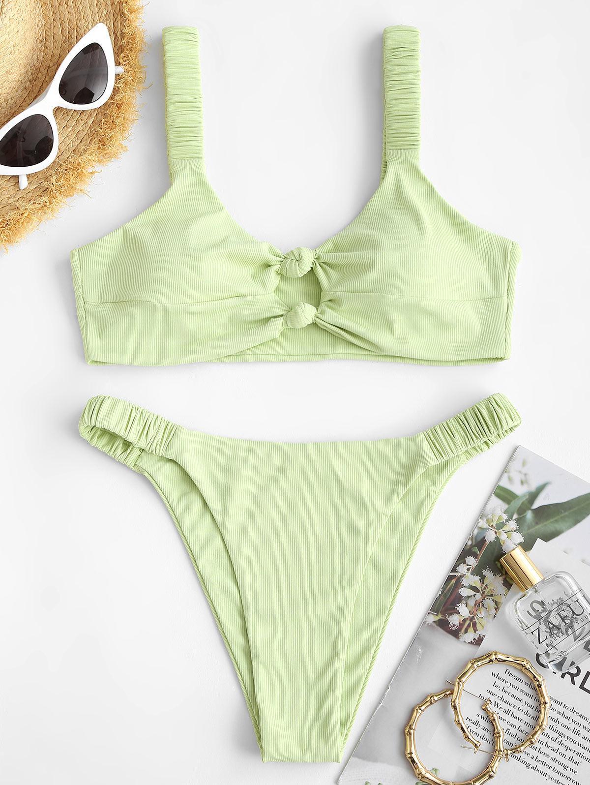 ZAFUL Ribbed Knotted Keyhole High Leg Bikini Swimwear