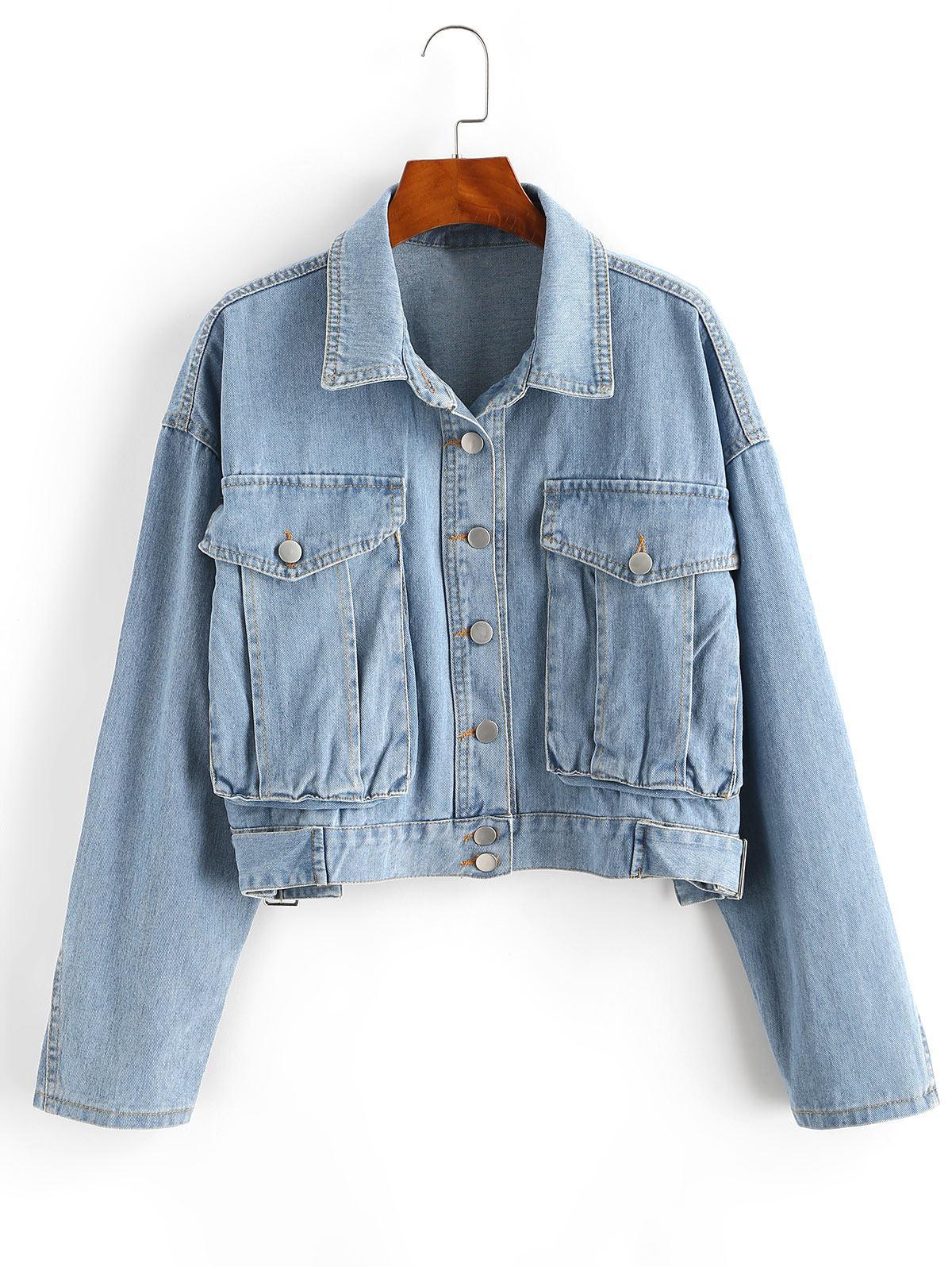 Drop Shoulder Pocket Buckle Embellished Denim Jacket