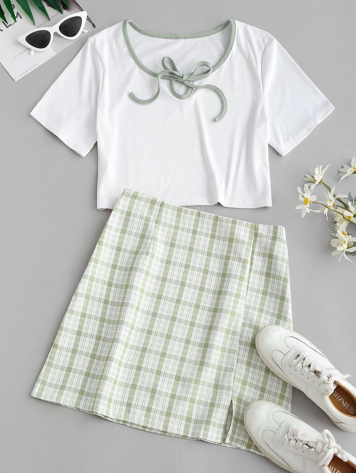 Ribbed Binding Tie Plaid Two Piece Skirt Set