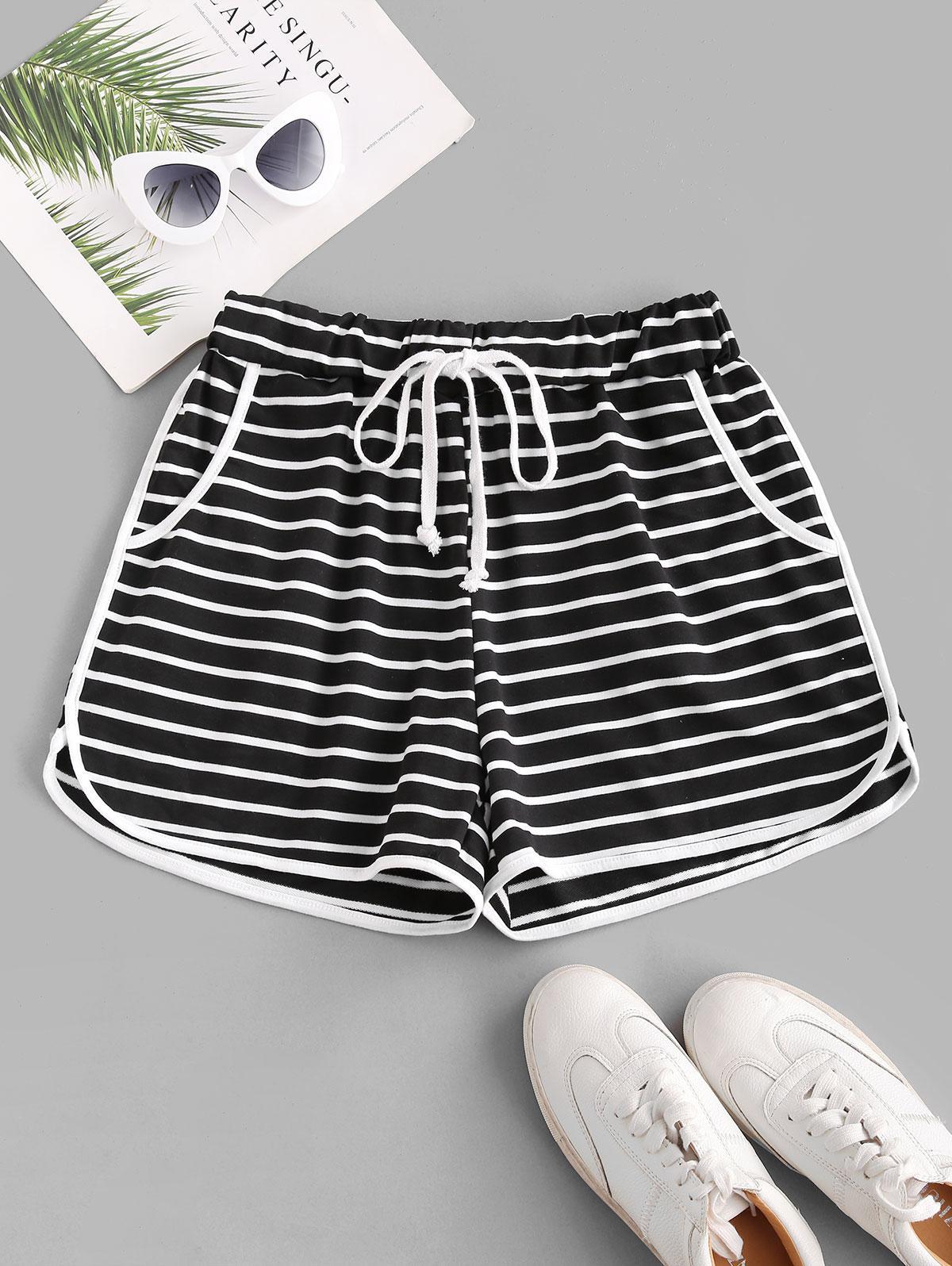 Striped Drawstring Binding Pocket Shorts