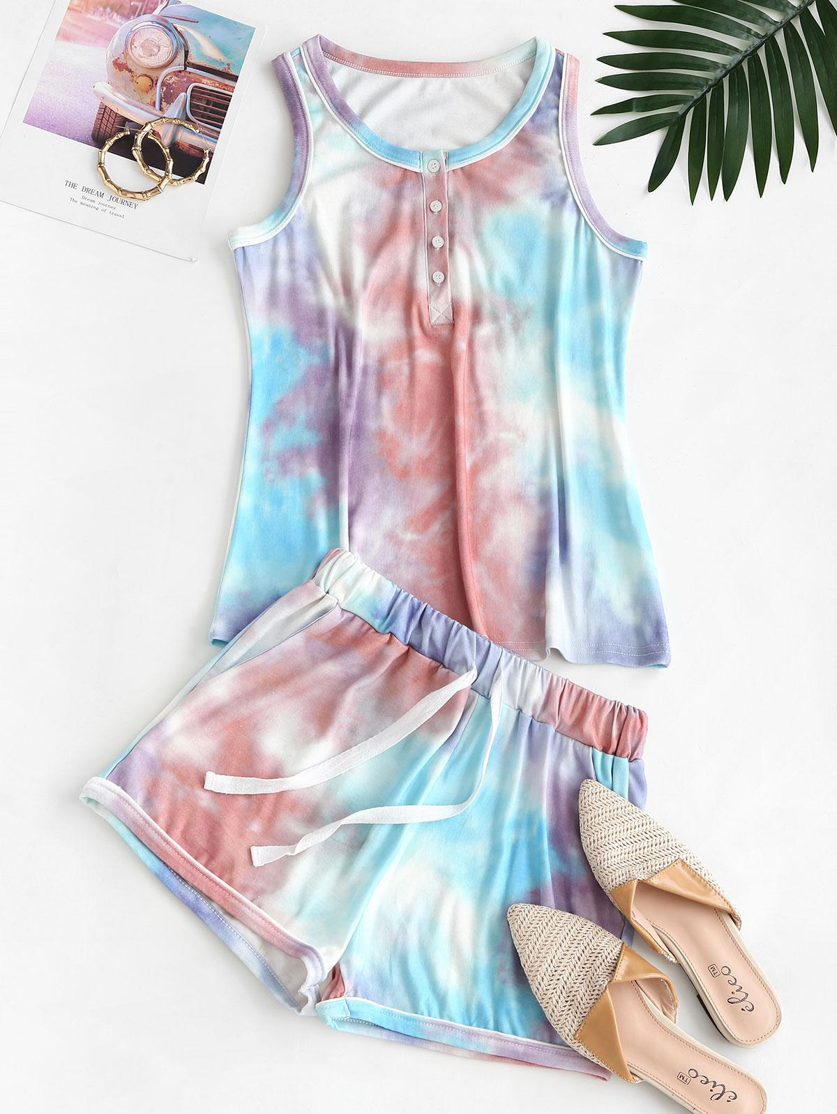 Half Buttoned Lounge Top And Sweat Shorts Set