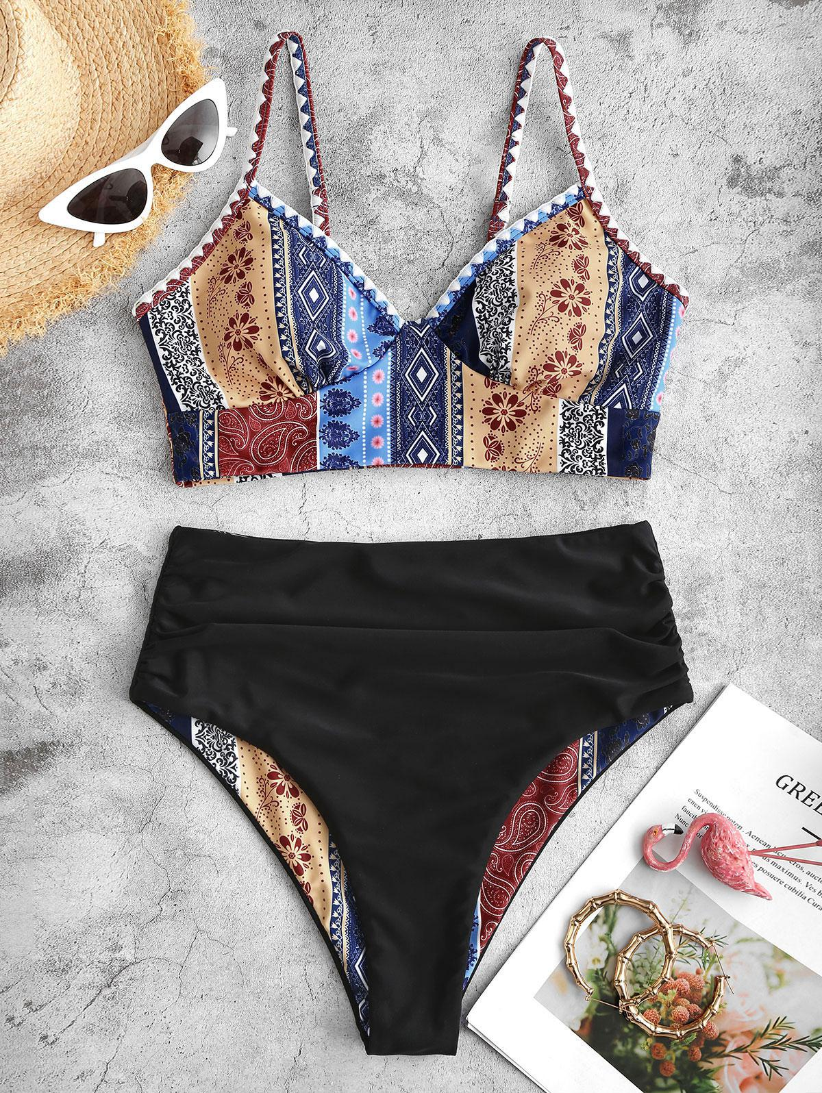 ZAFUL Reversible Boho Whip Stitch Tankini Swimsuit