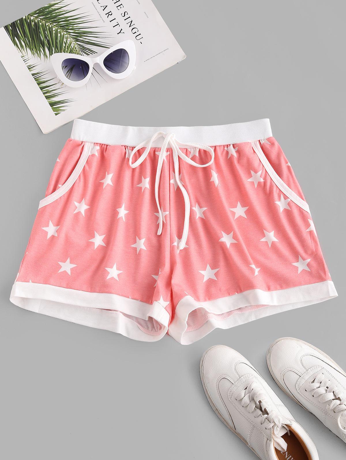 Star Print Pocket Pull On Tie Shorts
