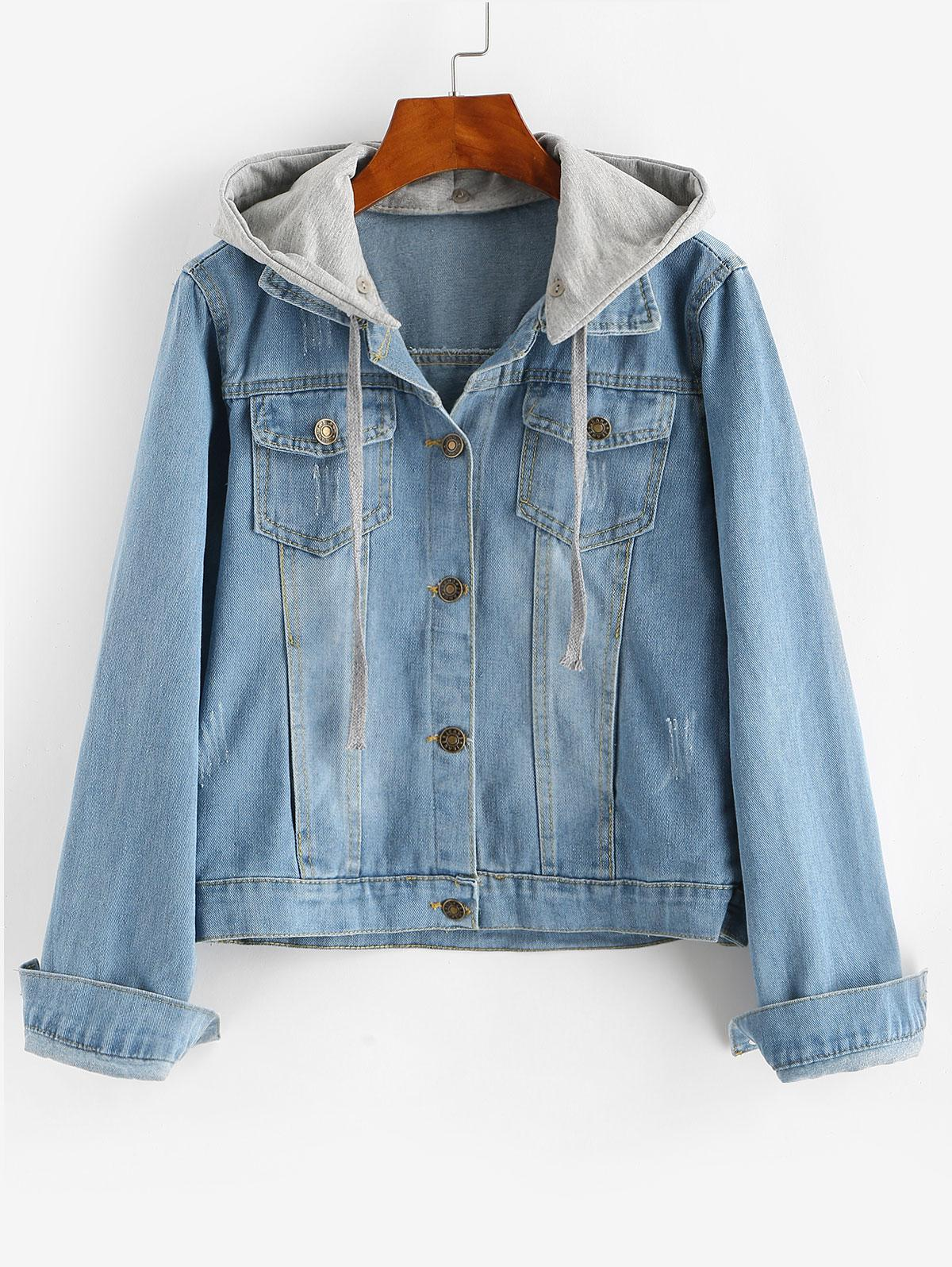 Contrast Detachable Hooded Distressed Denim Jacket