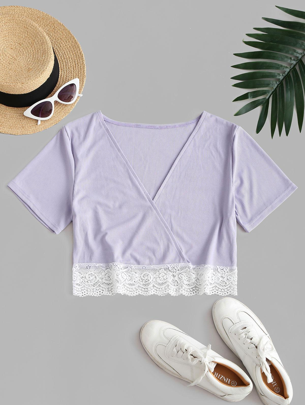 Scalloped Lace Trim Ribbed Surplice Top