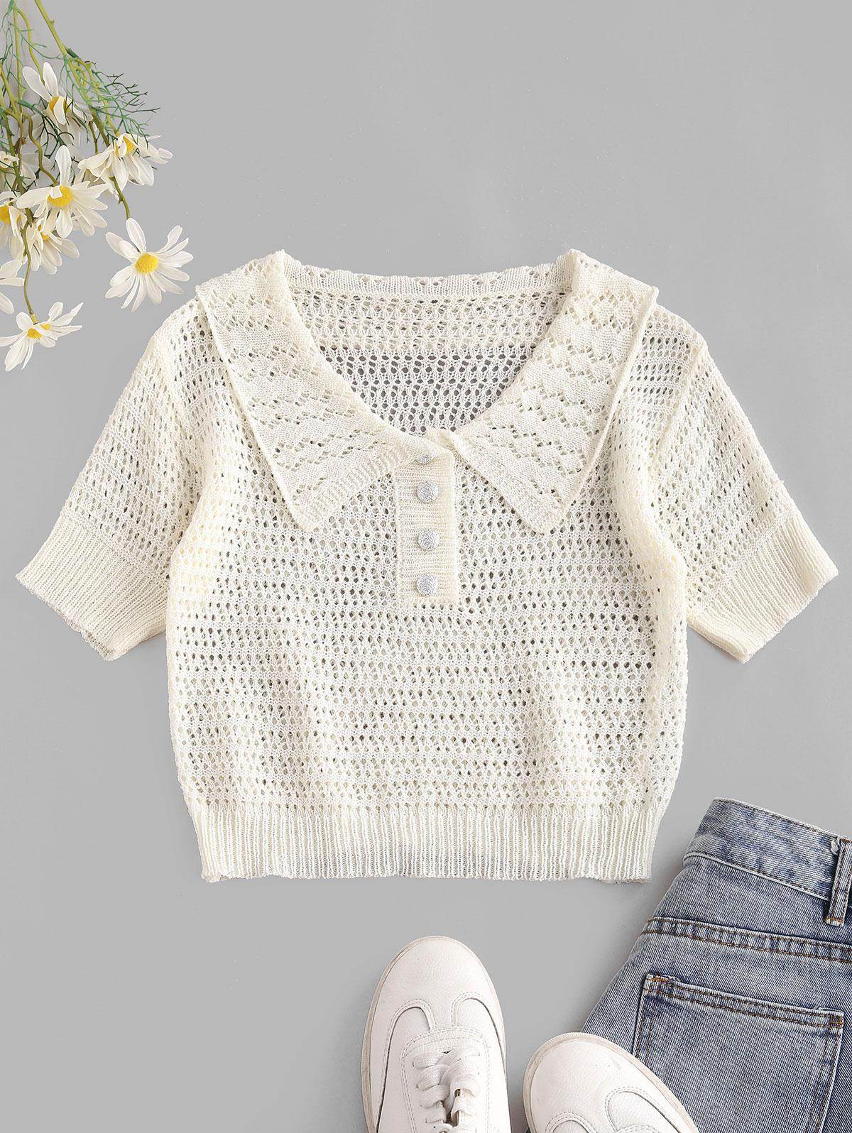 Openwork Knit Placket Crop Tee