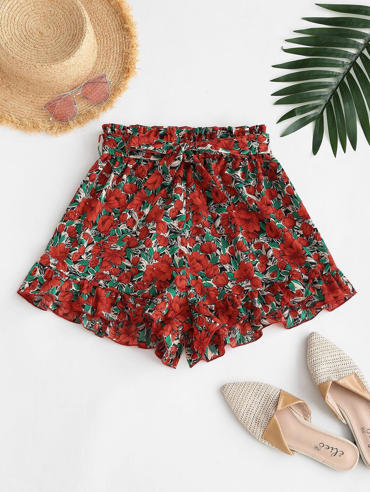 Ruffled Hem Belted Floral Paperbag Shorts