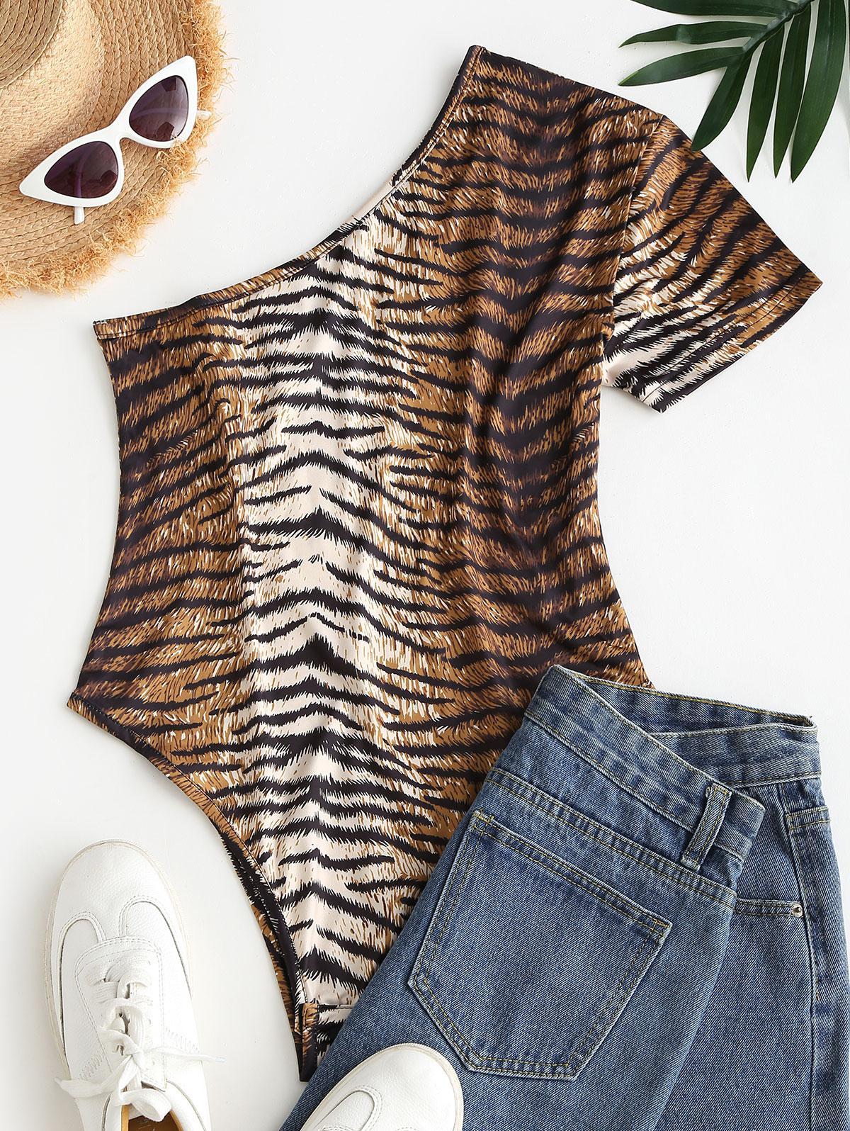 Tiger Print One Shoulder Bodysuit