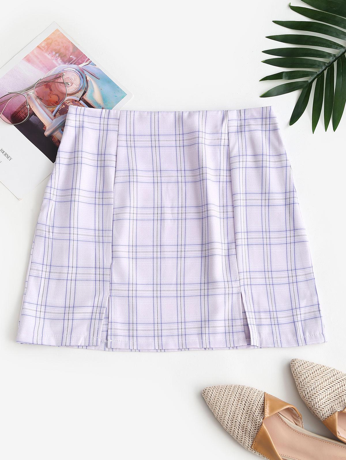 Plaid Front Slit Mini Skirt