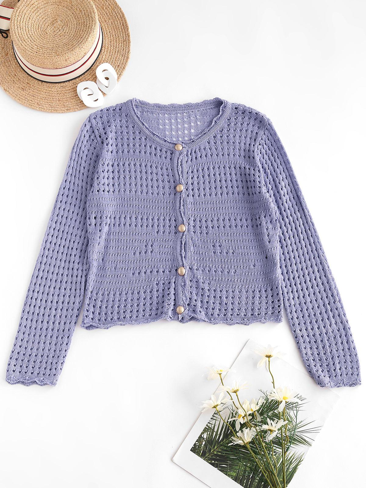 Open Knit Pearly Button Up Cardigan