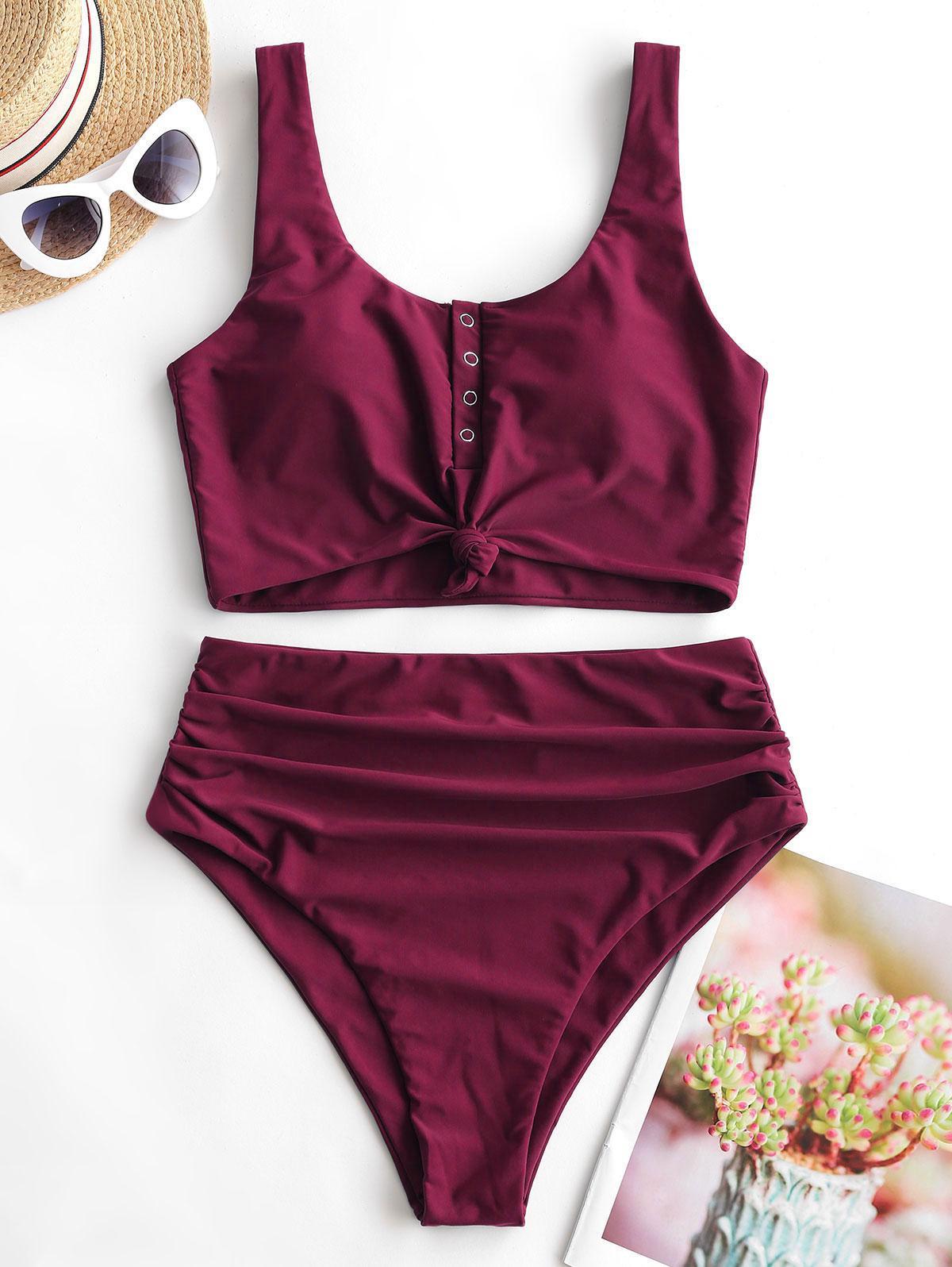 zaful Snap Button Ruched Tankini Swimwear