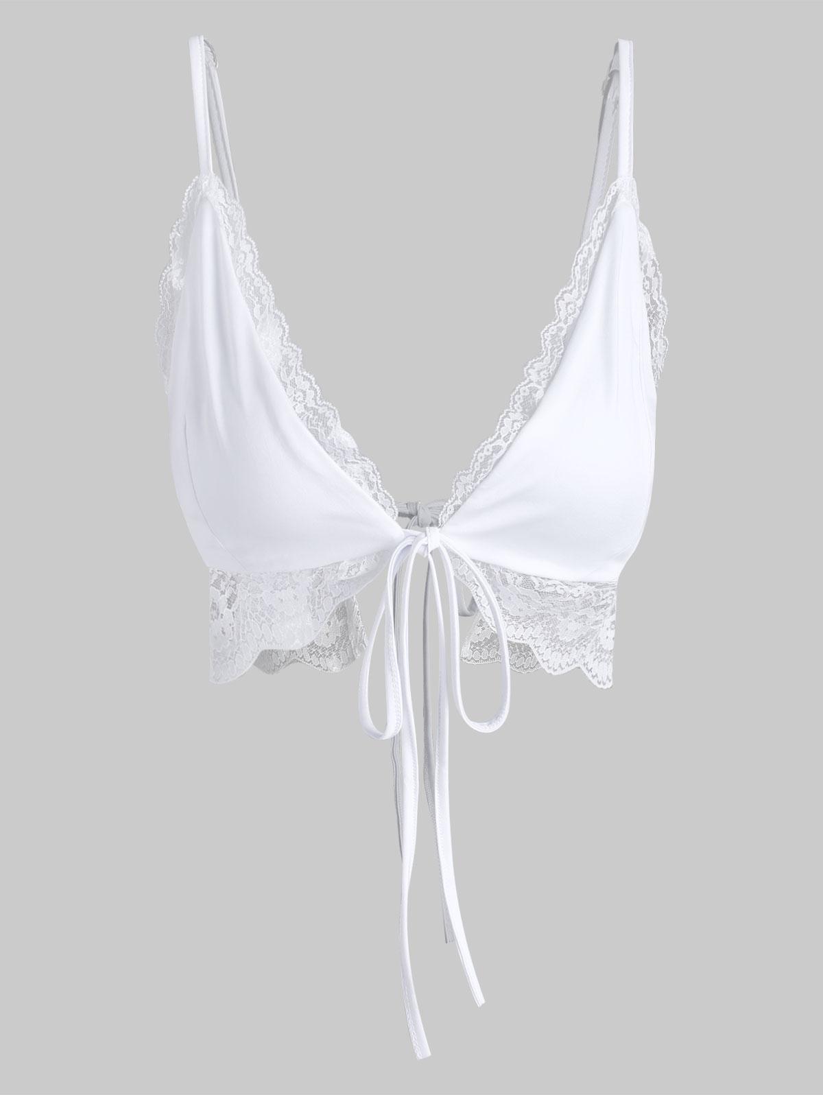 Tie Front Lace Trim Cami Top
