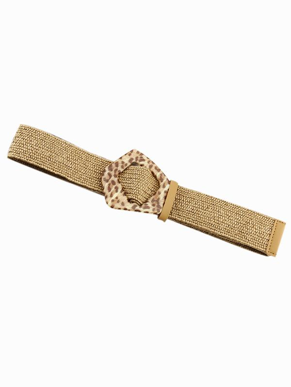 Leopard Buckle Cotton Linen Knit Dress Belt