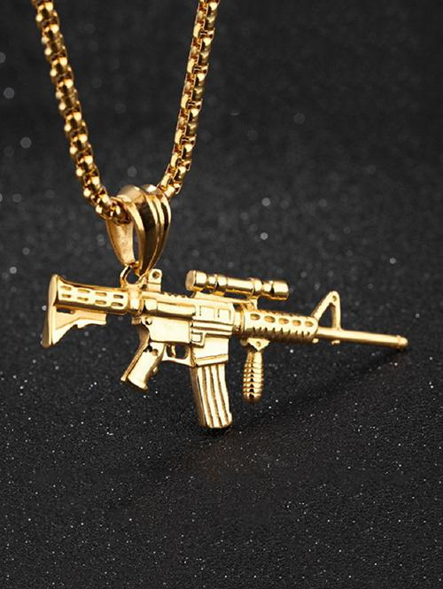 Carved Gun Pendant Hip Hop Necklace