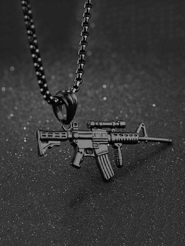 Carved Gun Pendant Hip Hop Necklace