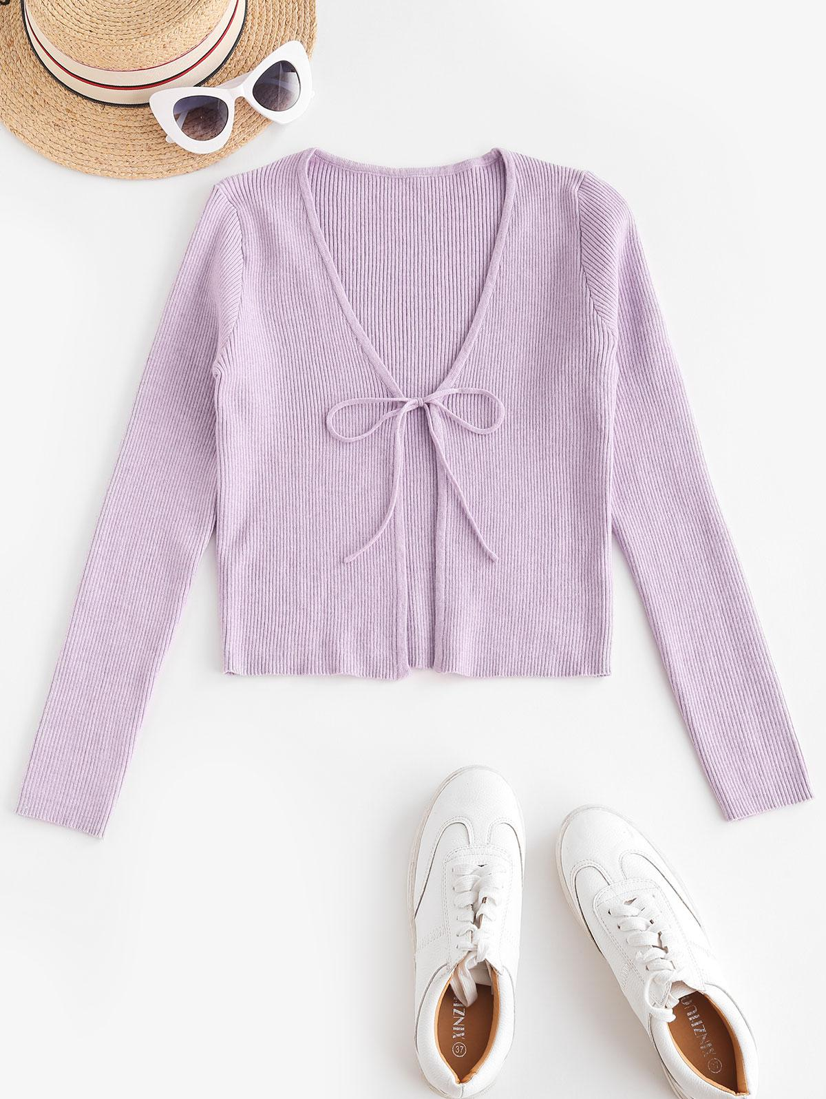 ZAFUL Tie Front Ribbed Solid Cardigan