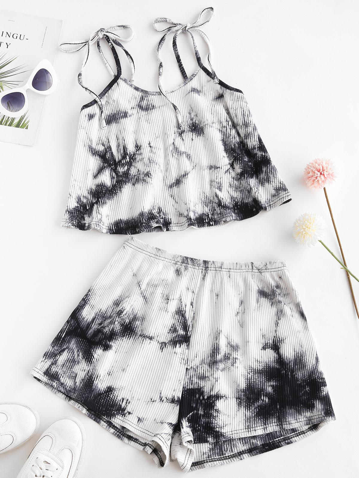ZAFUL Tie Dye Ribbed Tie Shoulder Shorts Set
