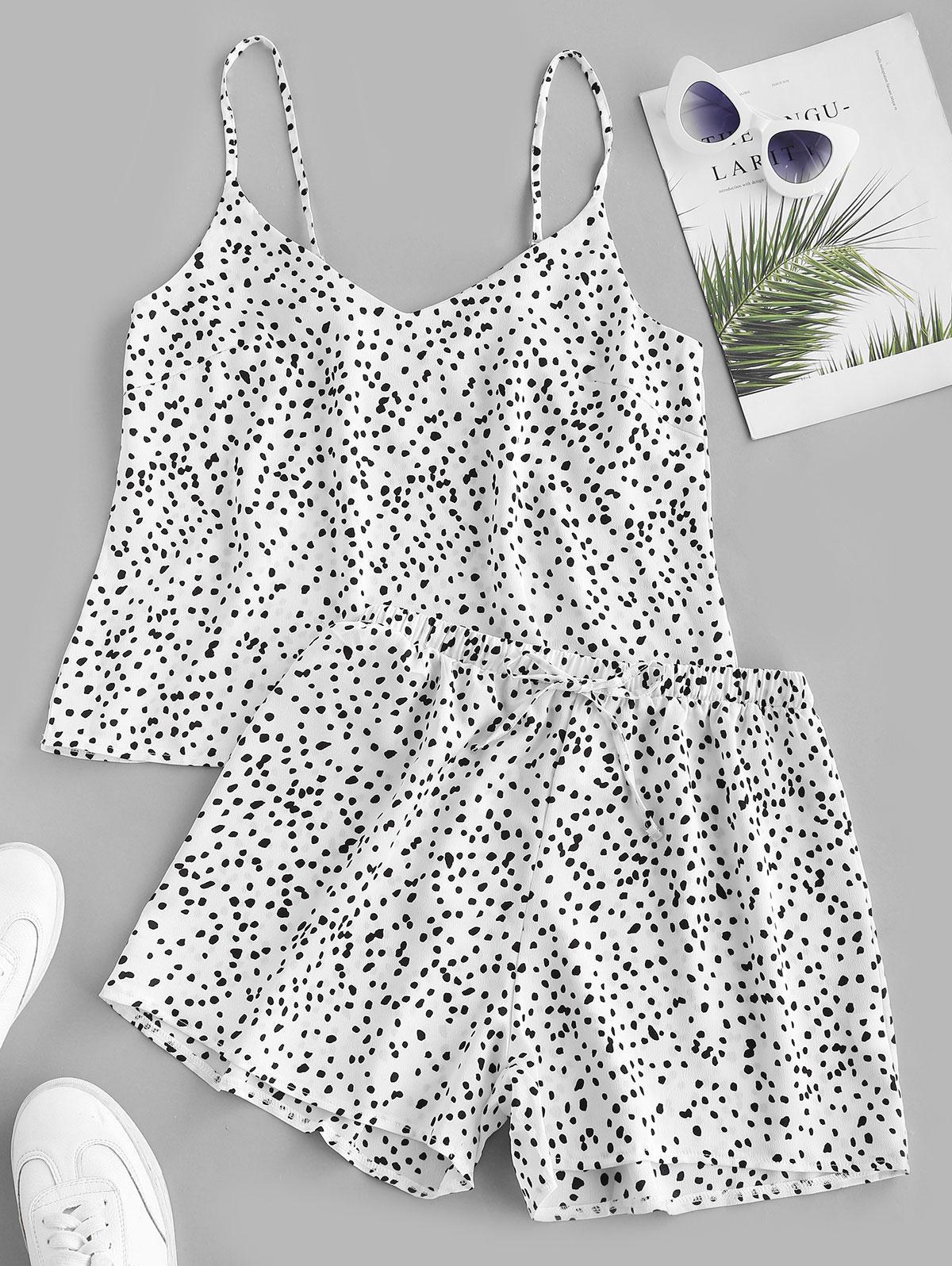 Ditsy Dot Drawstring Cami Two Piece Shorts Set