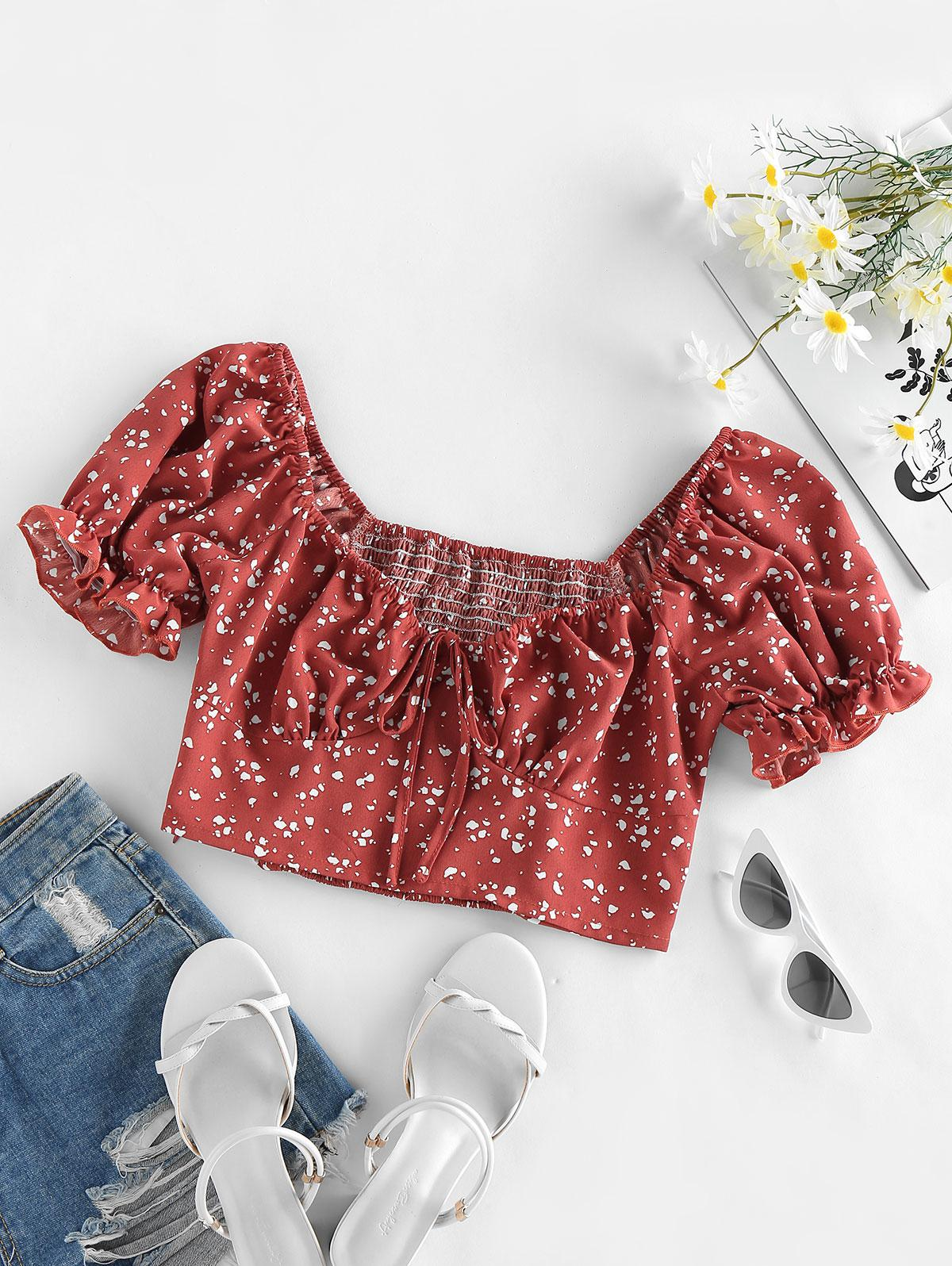 ZAFUL Smocked Puff Sleeve Bowknot Milkmaid Blouse