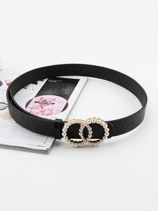 Double Circle Artificial Pearl Buckle Belt