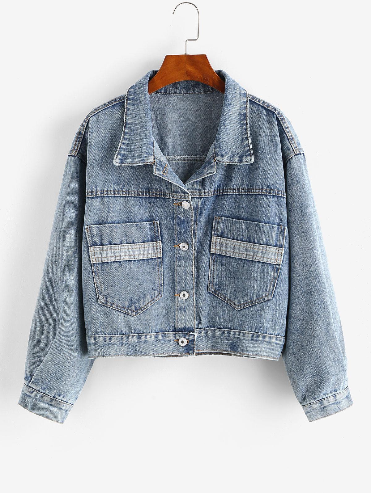 Drop Shoulder Pocket Single Breasted Denim Jacket