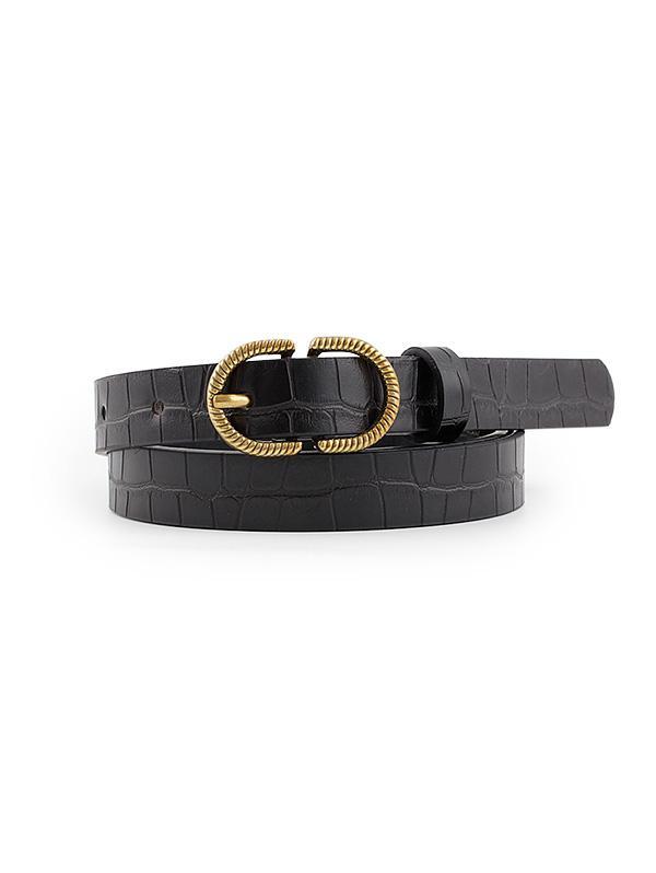Animal Embossed Leather Buckle Belt