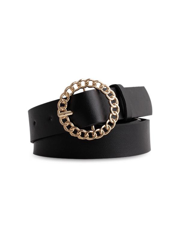 Circle Buckle Pure Color Leather Belt