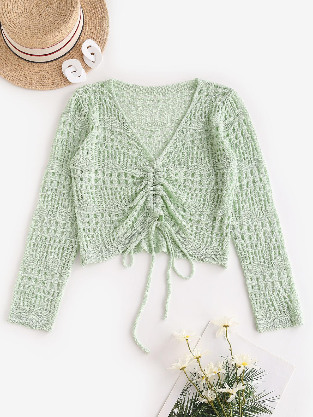 Open Knit V Neck Cinched Front Sweater