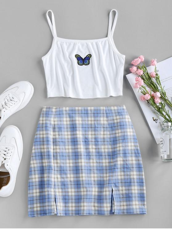 affordable ZAFUL Butterfly Embroidered Crop Camisole and Plaid Slit Skirt Set - MULTI M