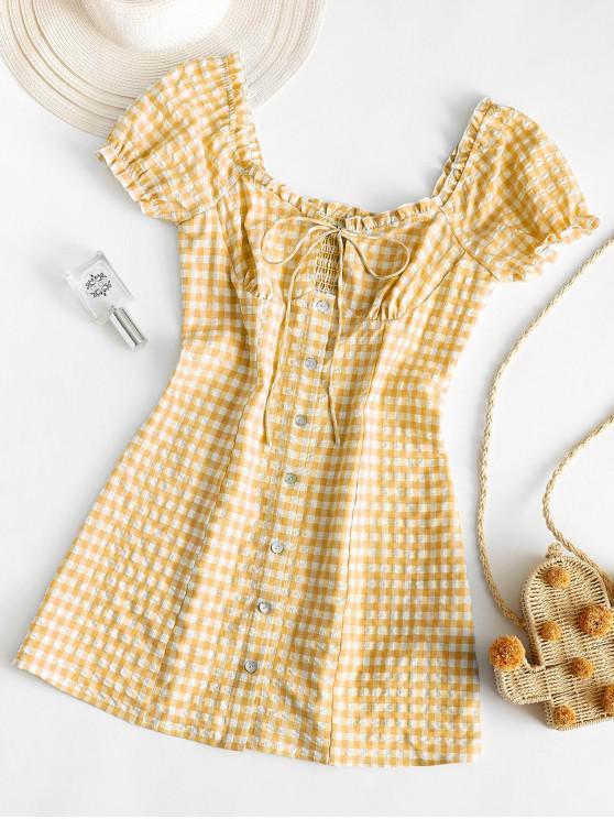ZAFUL Buttoned Smocked Gingham Sheath Dress - قضبان ذهبية M