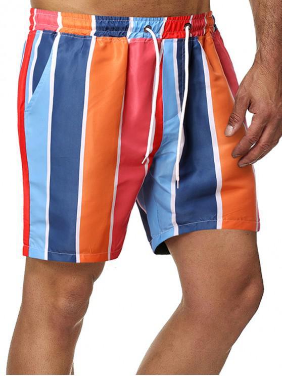 Colorblock Stripes Pattern Board Shorts - متعدد L