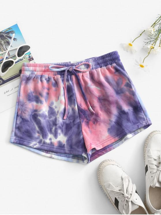 outfit ZAFUL Tie Dye Drawstring Shorts - MAUVE XL