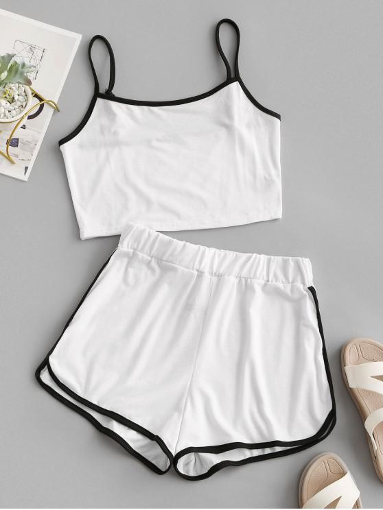 shop ZAFUL Ringer Sporty Cami Top And Dolphin Shorts Set - WHITE L