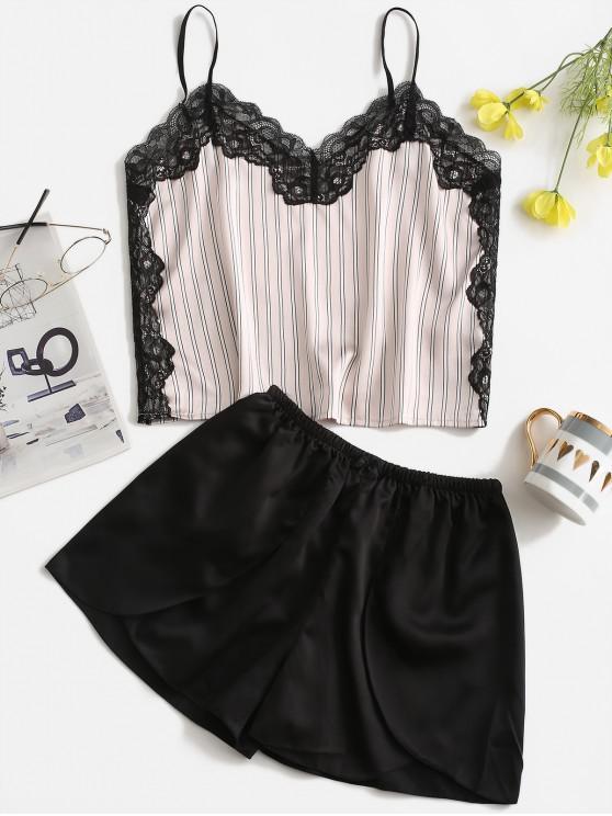buy Striped Lace Insert Satin Pajama Shorts Set - BLACK XL