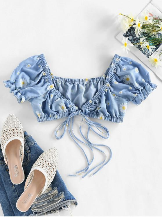 online ZAFUL Tie Front Ditsy Print Cropped Blouse - LIGHT BLUE XL
