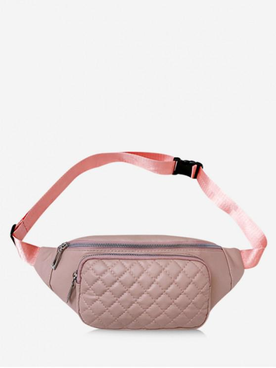 women Quilted Leather Adjustable Chest Crossbody Bag - LIGHT PINK