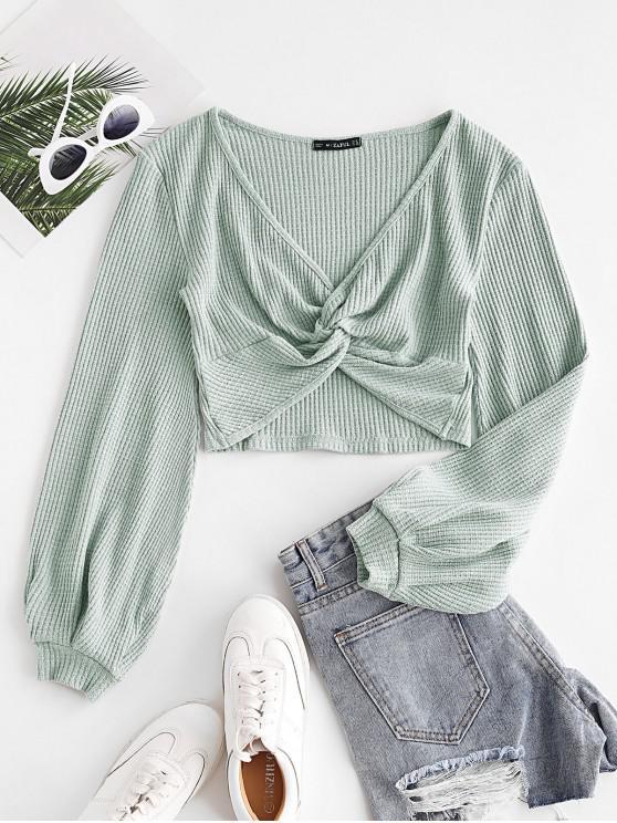 Voluminous Sleeve Twist-front Cropped Knitwear - أخضر M